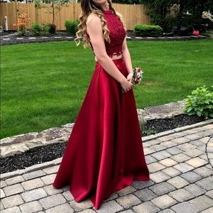 Two Piece Red Prom Dress